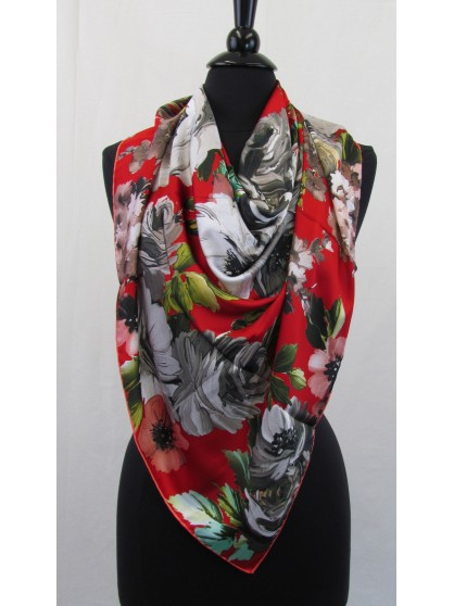 Guzel Scarf Floral Print Square Red